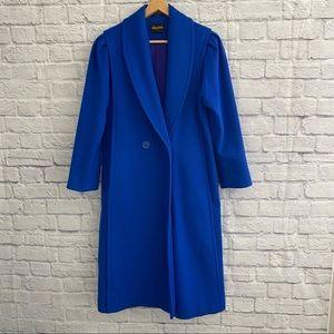 VINTAGE Beautiful Wool Vibrant Blue Long Coat